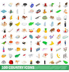100 country icons set isometric 3d style vector