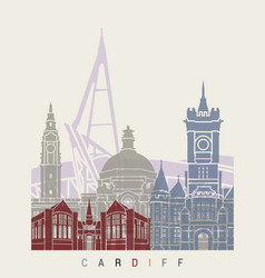 cardiff skyline poster vector image vector image
