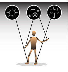 the image of a puppet with icons symbolizing vector image vector image