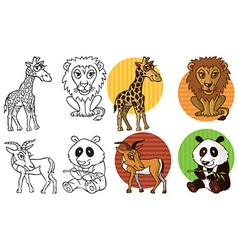wild animals giraffe lion Gazelle Panda vector image