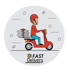 circular frame background with fast pizza delivery vector image vector image