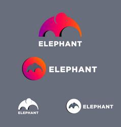 elephant mammoth flat logo set vector image
