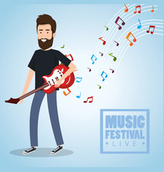 music festival live with man playing electric vector image vector image