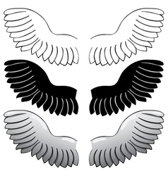 set Wings Black outline and painted vector image
