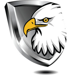 silver shield with eagle vector image