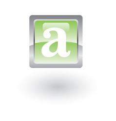 square glossy icon letter a vector image