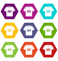 t-shirt with print adv icon set color hexahedron vector image vector image