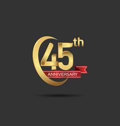 45 years anniversary logo style with swoosh ring vector