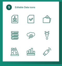 9 data icons vector image