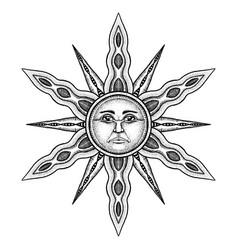 Alchemy symbol sun - stylized as engraving vector