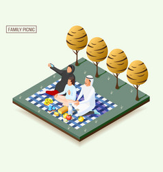 arabic family isometric composition vector image