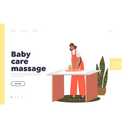 Baby care massage concept landing page vector