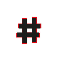 black flat hashtag icon with long shadow on white vector image