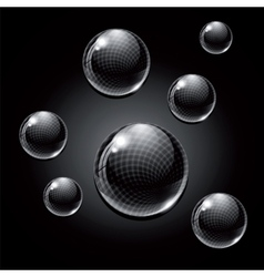 Black glass balls vector image