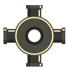 Black pipe fitting icon flat style vector