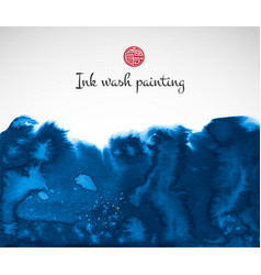 Blue ink wash painting on white background vector