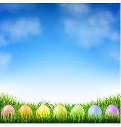 blue sky and easter eggs vector image