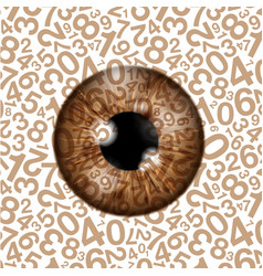 Brown realistic eyeball on a number background vector
