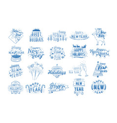 Bundle of happy new year lettering written with vector