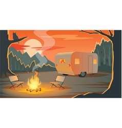 camping landscape with camper silhouettes loving vector image