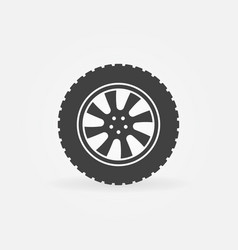 car wheel with tire icon or logo vector image