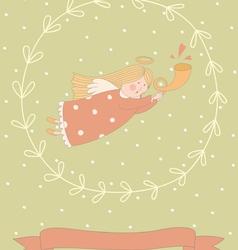 Cartoon a very cute angel in a wreath vector