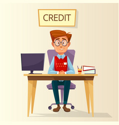 cartoon manager in credit office workplace vector image