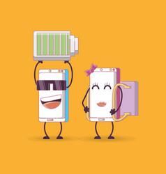 Cartoon smartphones design vector