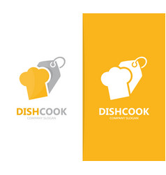 Chef hat and tag logo combination vector
