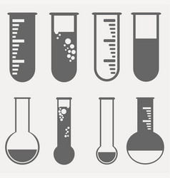 Chemical test tubes pictograph icons set vector