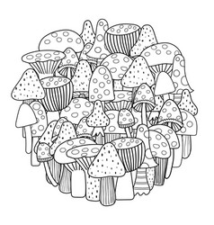 Circle shape coloring page with mushrooms black vector