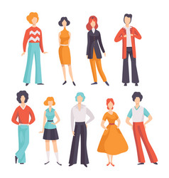 collection of young men and women wearing vintage vector image