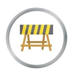 Construction barricade icon in cartoon style vector