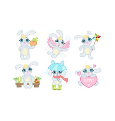 Cute adorable bunny character set cheerful lovely vector
