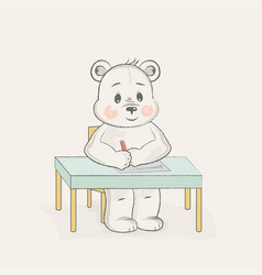 cute bear writes at the table vector image