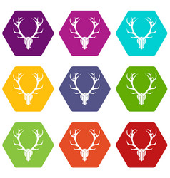 deer antler icon set color hexahedron vector image
