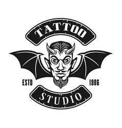Devil head with wings tattoo studio emblem vector