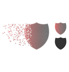 Disintegrating pixel halftone shield icon vector