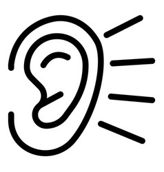 Ear listening icon outline style vector