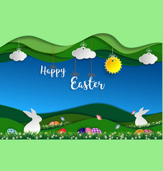 Easter day with green nature background vector