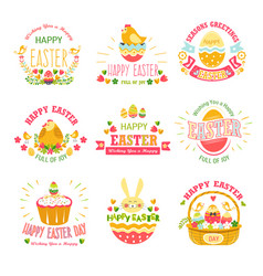 easter religious holiday isolated icons cake and vector image