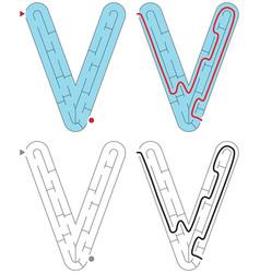 Easy alphabet maze - letter v vector