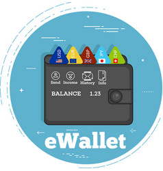 Electron wallet concept in line art style vector
