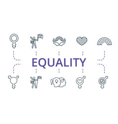 Equality icon set contains editable icons theme vector