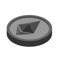 Etherium coin isolated cryptocurrency on white vector