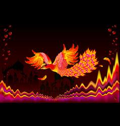 Fairyland bird flying between flame waves vector