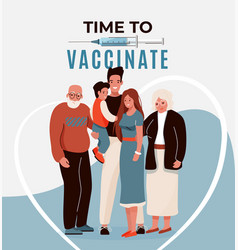 Family vaccine safety concept poster vector