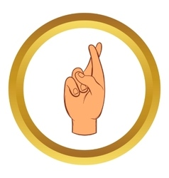 Fingers crossed icon cartoon style vector image