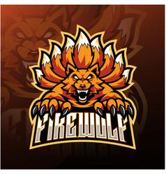 fire wolf esport mascot logo design vector image