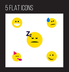 Flat icon face set of grin winking asleep and vector